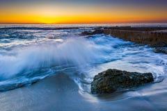 Free Waves Crashing On Rocks At Sunset Stock Image - 50755801
