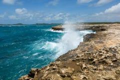 Waves Crashing over Coastline at Devil's Bridge Antigua Stock Image