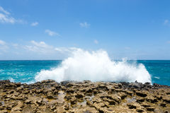 Waves Crashing Over Limestone Ocean Coastline Royalty Free Stock Images