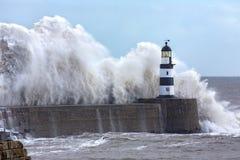 Free Waves Crashing Over Seaham Lighthouse - England Royalty Free Stock Photo - 164893605