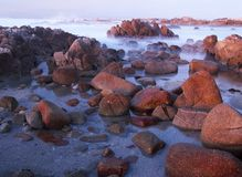 Waves crashing in Pacific Ocean near 17 mile drive and Monterey, California. Waves background at dusk on Asilomar State Marine Reserve, Pacific Grove near Royalty Free Stock Image
