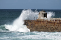 Waves crashing at Portreath in Cornwall Stock Image