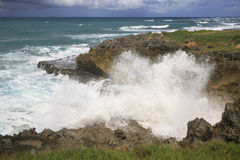 Waves Crashing on the Ragged Rocks. Waves crashing on the north shore of the Dominican Republic just east of Sosua Royalty Free Stock Image