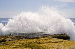Waves crashing on rocks. A close up view of ocean waves crashing into the rocks on the scenic Maine coast at Schoodic Point stock photo