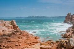 Waves crashing on rocks, Bretagne, France Royalty Free Stock Image