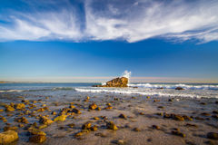 Waves Crashing on Rocks in Malibu California Stock Image