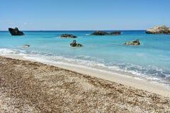 Waves crashing on the rocks at Megali Petra Beach, Lefkada, Ionian Islands Stock Photos