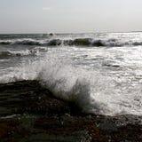Waves. Crashing on the rocks of Newport Stock Photography