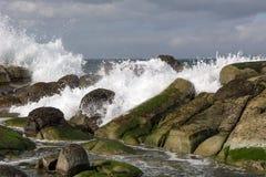 Waves crashing on rocks on shore Royalty Free Stock Photo