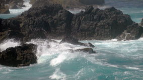 Waves Crashing on Rocks stock video