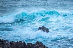 Waves Crashing into Rocks. In NSW Australia stock photos