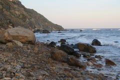 Waves Crashing On the Rocky Shore Royalty Free Stock Photos