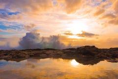 Waves crashing on rocky shoreline Royalty Free Stock Images