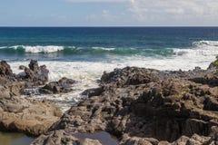 Waves Crashing the Scenic Maui Coast. Waves crashing into the scenic Maui Hawaii coastline Stock Photo