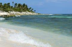 Waves crashing on shoreline of cozumel Stock Images