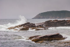 Waves crashing at Thunder Hole Stock Photos