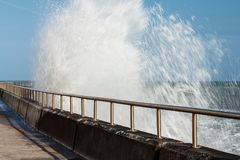Breaking Waves, Undercliff Walk, East Sussex, UK royalty free stock photos
