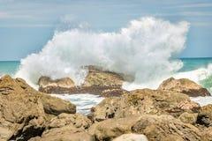 Waves Crashing, Wainui Coast. New Zealand shoreline in lower north island stock photography
