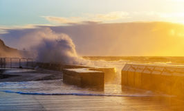 Waves crushing with force on Mornington Pier Stock Photography