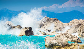 Waves crushing into the rocks. On Lefkada, Greece beach Royalty Free Stock Image