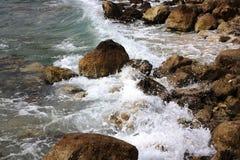 Waves crushing shore at beautifull beach. Veliki Zal beach at Dubravice near Dubrovnik, Croatia Stock Photo