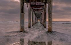 Waves crushing under Scripps Pier during sunset at La Jolla, San Diego, California Royalty Free Stock Images