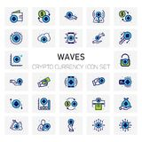 Waves Crypto Currency icons set. For web design and application interface, also useful for infographics. Vector illustration Stock Photography