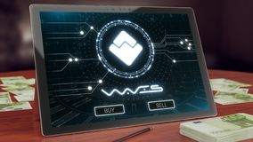 Waves cryptocurrency logo on the pc tablet display. 3D illustration royalty free stock photography