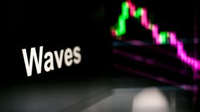 Waves Cryptocurrency token. The behavior of the cryptocurrency exchanges, concept. Modern financial technologies. royalty free stock photography