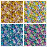 Waves and curls patterns set. Colorful abstract vector backgrounds Royalty Free Stock Photo