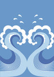 Waves decoration on blue Royalty Free Stock Image