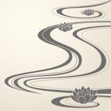 waves för eleganta lotuses för bakgrund orientaliska vektor illustrationer