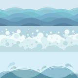 waves för vatten för höger sida för bild för copyspace för bakgrundsblackcontrast cyan höga Arkivfoto