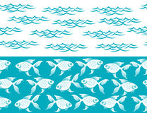 Waves and fish ocean seamless borders Stock Photography