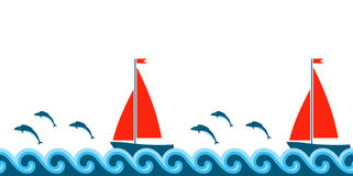 Waves, fishes and sailboats border Royalty Free Stock Photos