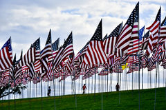 Waves of Flags Display at Pepperdine Stock Images