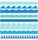 Waves flat style vector seamless icons collection Royalty Free Stock Photos