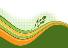 Waves with floral branch. The vector illustration contains the image of waves with floral branch Royalty Free Stock Image