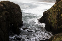 Waves Foam And Shore Yaquina Bay Oregon Stock Images