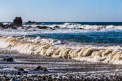 Waves and foam on wild beach Royalty Free Stock Photo