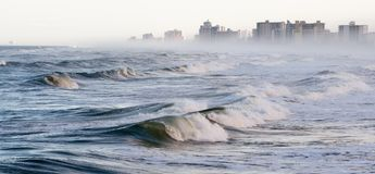 Waves and fog on Daytona Beach. Waves and fog on Daytona Beach, Florida Royalty Free Stock Photography