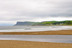 Waves and fog on an Irish Coastal Beach stock photo
