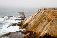 Waves on a foggy calif coastline Royalty Free Stock Image