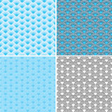 Waves Four Seamless blue patterns Stock Images