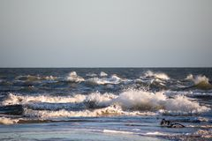 Free Waves From Skagerrak And Kattegat Ocean Meets In Northern Denmark. Royalty Free Stock Images - 104893099