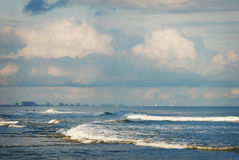 Waves going on shore in the evening at Myrtle Beach, South Carolina. Royalty Free Stock Photo