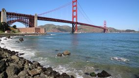 Waves and Golden Gate Bridge stock video