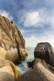 Waves Between Granite Rocks, Seychelles Royalty Free Stock Image