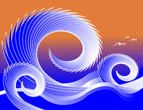 Waves and Gulls. Seagulls and ocean waves are featured in an abstract background illustration with space for text Royalty Free Stock Photo