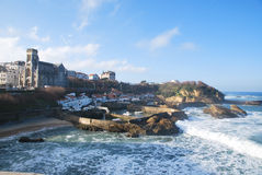 Waves in harbour of Biarritz Royalty Free Stock Images